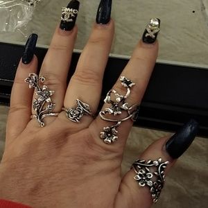 Silver multi finger rings- 4 pieces